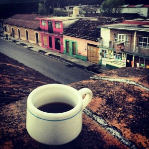 coffee cup on a ledge in Central America