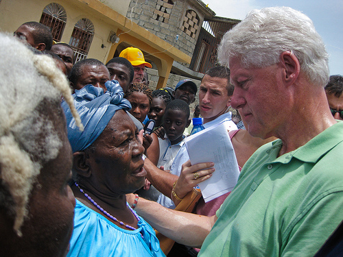 Bill Clinton visits residents of Haiti