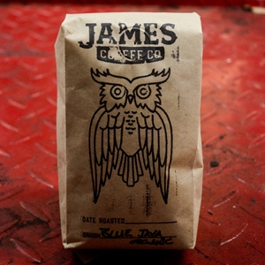 James coffee roasters logo and bag