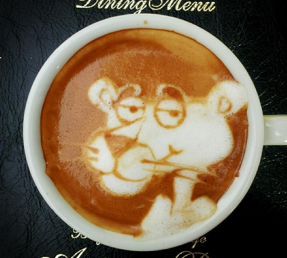 pink panther latte art