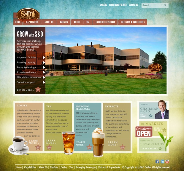 S&D coffee and tea new website in North Carolina