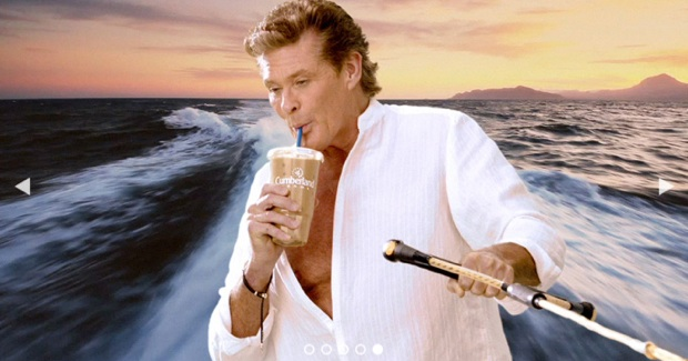 David Hasselhoff starring in iced coffee video