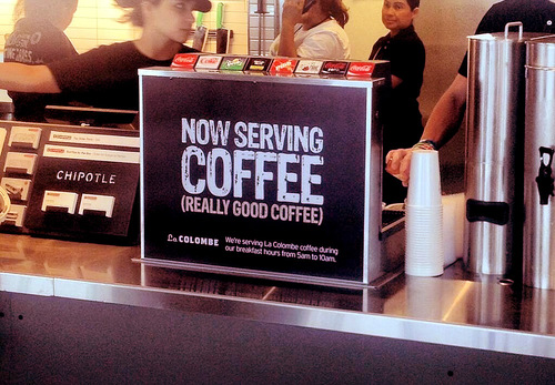 chipotle testing la colombe coffee