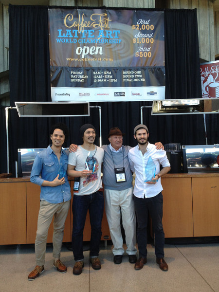 Top 3 of Latte Art World Championship Open: Junichi Yamaguchi, Nobu Shimoyama and Cabell Tice