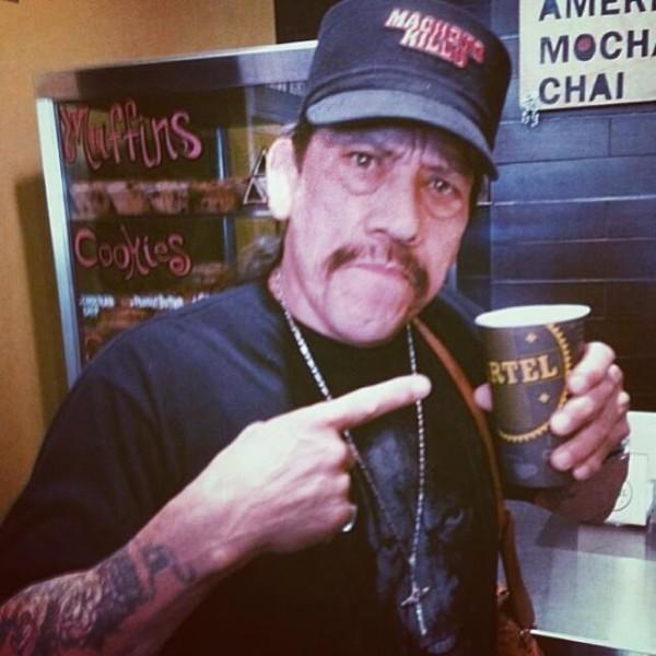 Danny Trejo drinking coffee