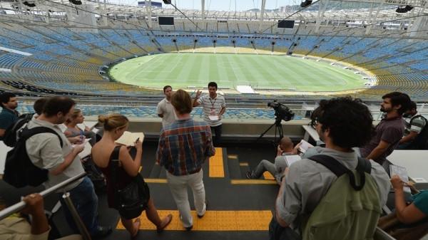 Journalists visit Maracana Stadium in Rio de Janeiro