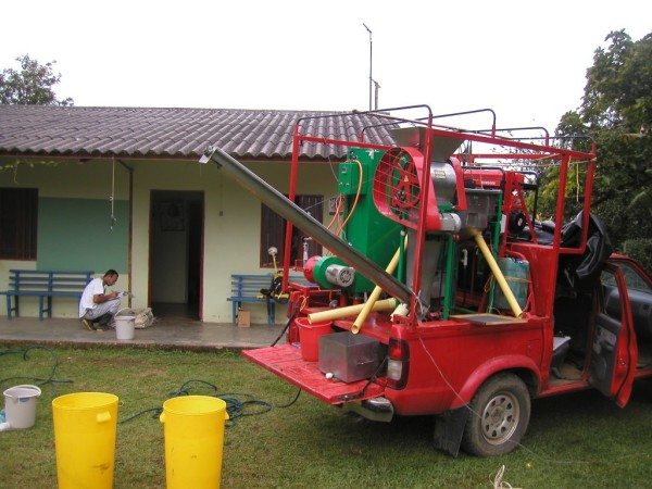 Figure 3. The mobile processing unit that we used in the field to wash, ferment and dry samples that had been harvested following a standardized protocol.