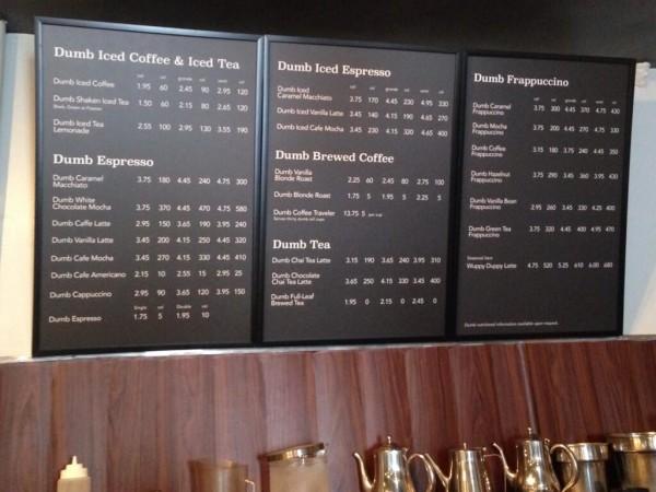 The Dumb Starbucks menu. Twitter photo.