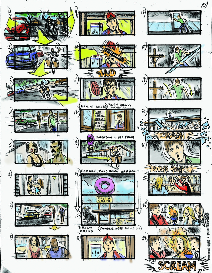 Initial storyboard art for Save the Grind