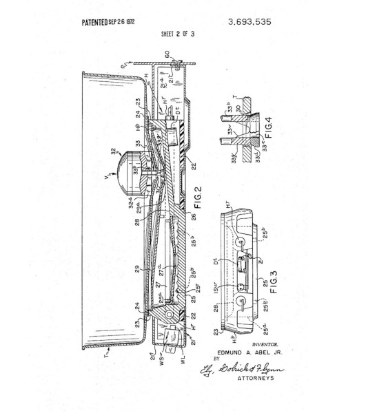 Inside the Mr. Coffee brewer, from Abel's 1972 patent