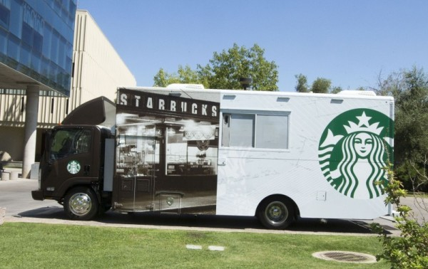 The Starbucks mobile truck on the Arizona State University campus.