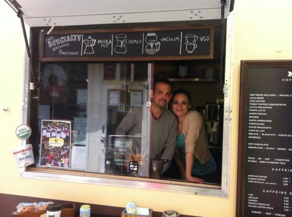 Chris and Amanda Kilander working the Kaffeine truck