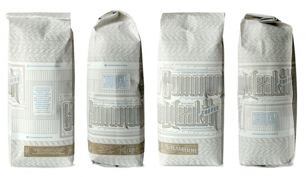 Commonwealth Coffee Roasters bags. Image courtesy of Kevin Cantrell Design.