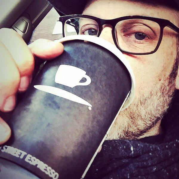 alton brown drinking coffee
