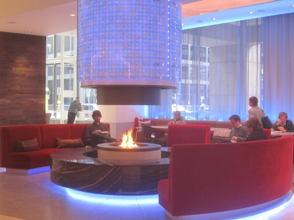 capella tower fireplace lobby