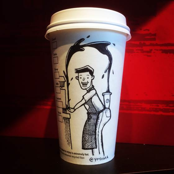Coffee Cup Pop Cartoonist @yoyoha Renews 100-Cup Pledge for 2015