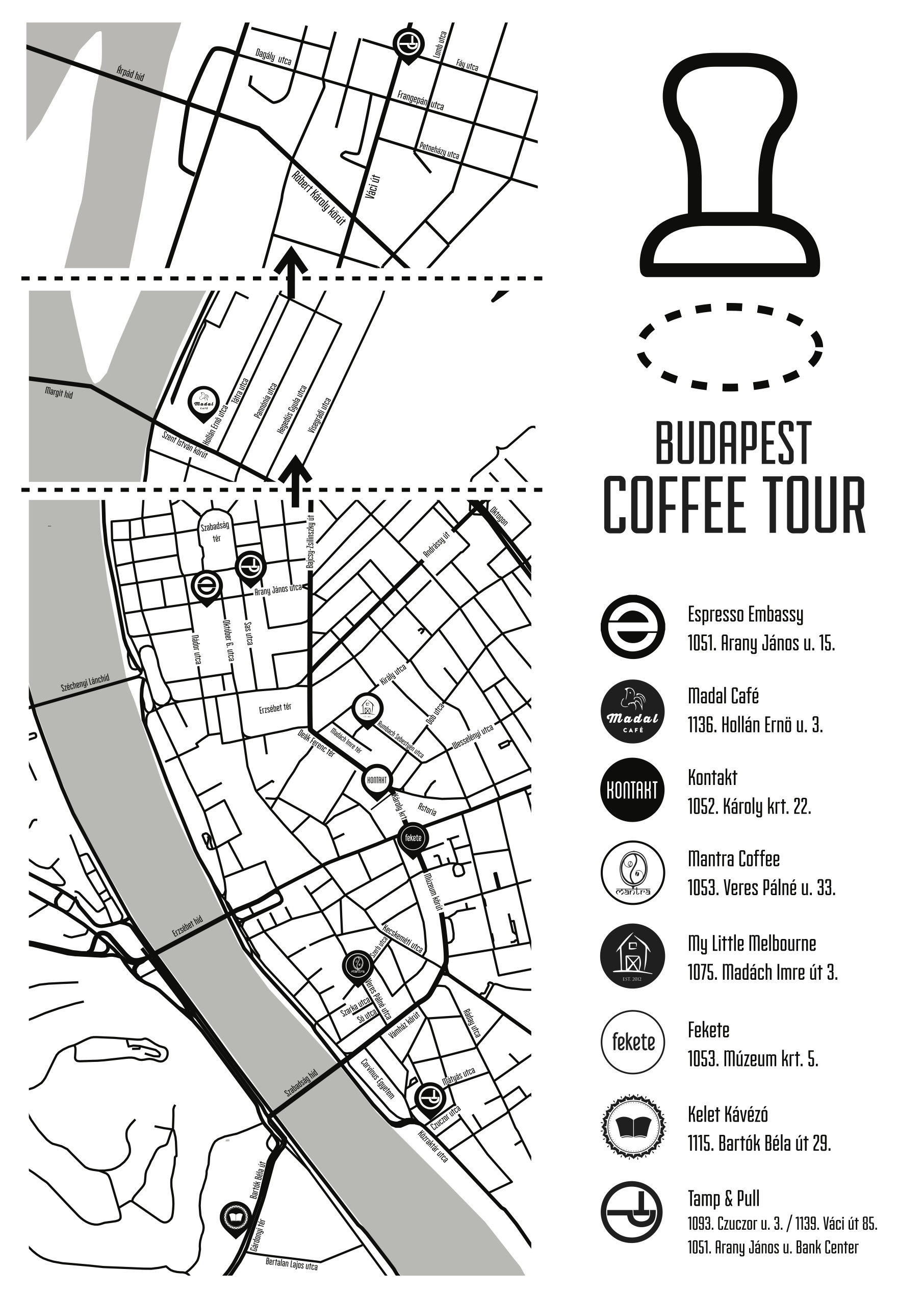 The Budapest Coffee Tour map.