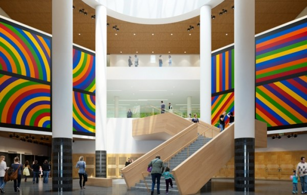 Rendering of the renovated staircase and atrium.