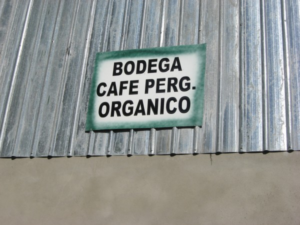 A Peruvian organic coffee sign. Creative Commons photo by Shared Interest.