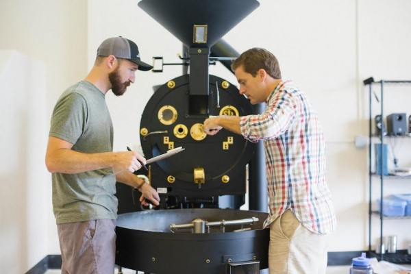 Summit Coffee Lead Roaster Evan Pollitt (left) and Co-Owner Brian Helfrich.