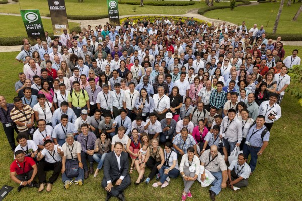 A group photo from the Let's Talk Coffee Global 2014 event in Panama. Photo courtesy of Sustainable Harvest.