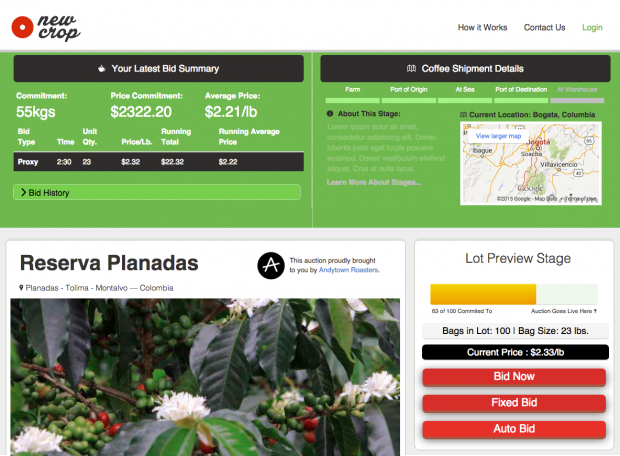 Meet NewCrop, an Online Split-Lot Green Coffee Bidding Platform