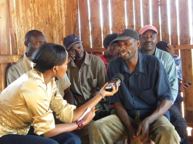 Conducting interviews with local farmers for a Radio Lifeline broadcast