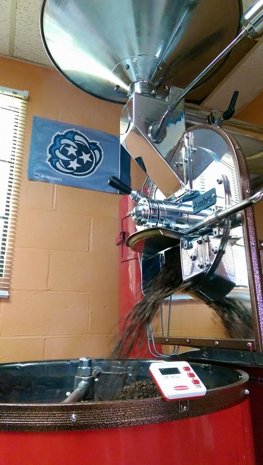 Roasting coffee AND representing the Grizz at Reverb Coffee in Memphis
