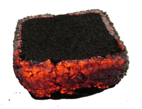 A single burning coffee coal.