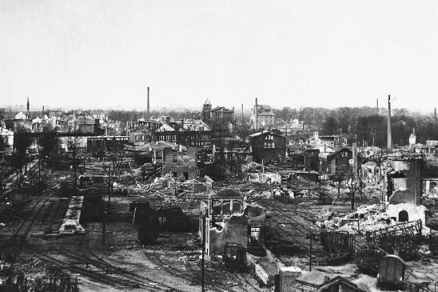 The scene near the original Emmericher Maschinenfabrik factory. It is unknown whether the factory site is visible within this photo.