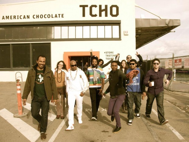2012 photo. Keba Konte (far left) and the Chasing Lions team on a chocolate tasting field trip.