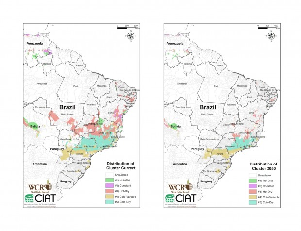 "Mapping current and future climatic conditions and ""suitable"" growing land in Brazil."