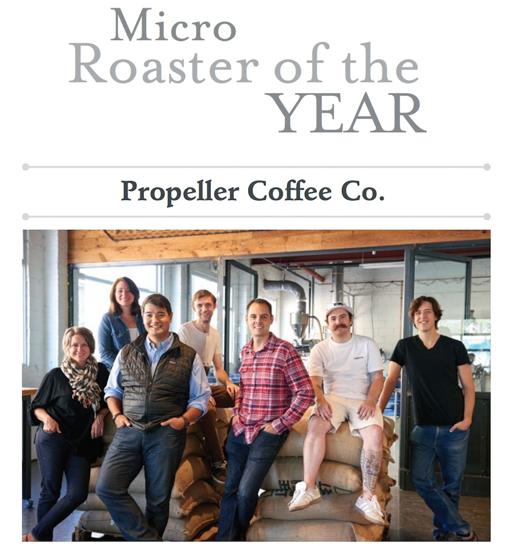 Propeller Coffee Co. from left to right: Kristi Tethong, director of events; Meghan Goodfellow, director of operations and customer service; Losel Tethong, co-founder and co-owner; Matthew Collier, barista and cafe supervisor; Geoff Polci, co-founder, co-owner and coffee buyer; Eric Bruce, head roaster; Jonathan Cox, head of coffee lab and assistant roaster. (Not pictured: Eric Mahovlich, barista and trainer.) Photo by Alex Beetham.