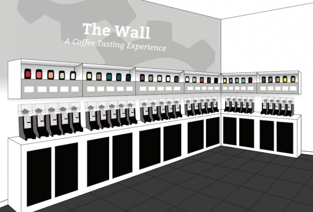 "Seattle Coffee Gear Building Bold Multiroaster Retail Concept ""The Wall"""