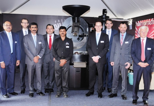 Probat and Probat Kaapi officials in front of Probatone 25 shortly before roasting demonstration