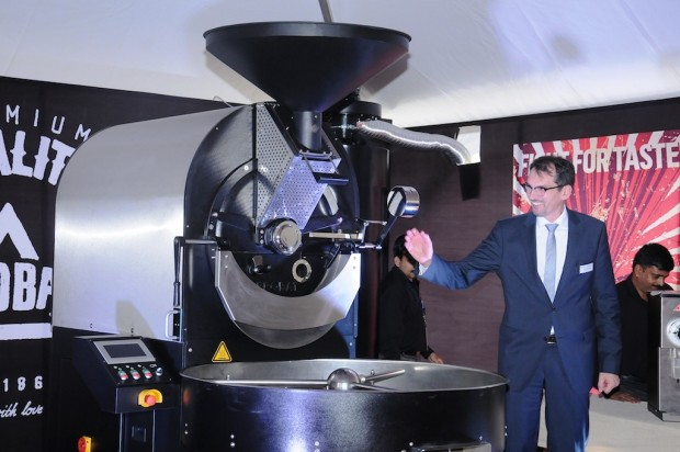 Probat Group CEO Wim Abbing showing off the first Probatone 25 made in India. Images courtesy of Probat Group.