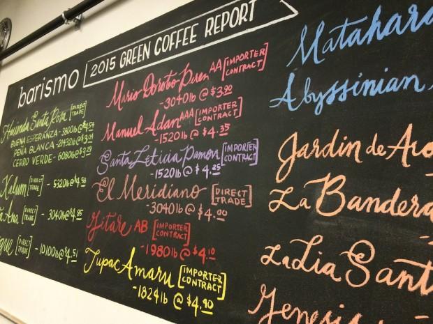 A Barismo shop menu