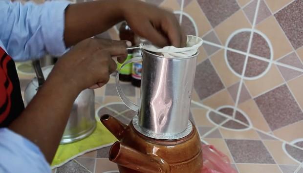 Coffee preparation on the Aziza's Coffee cart.