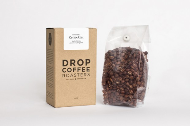Drop Coffee Roasters packaging.