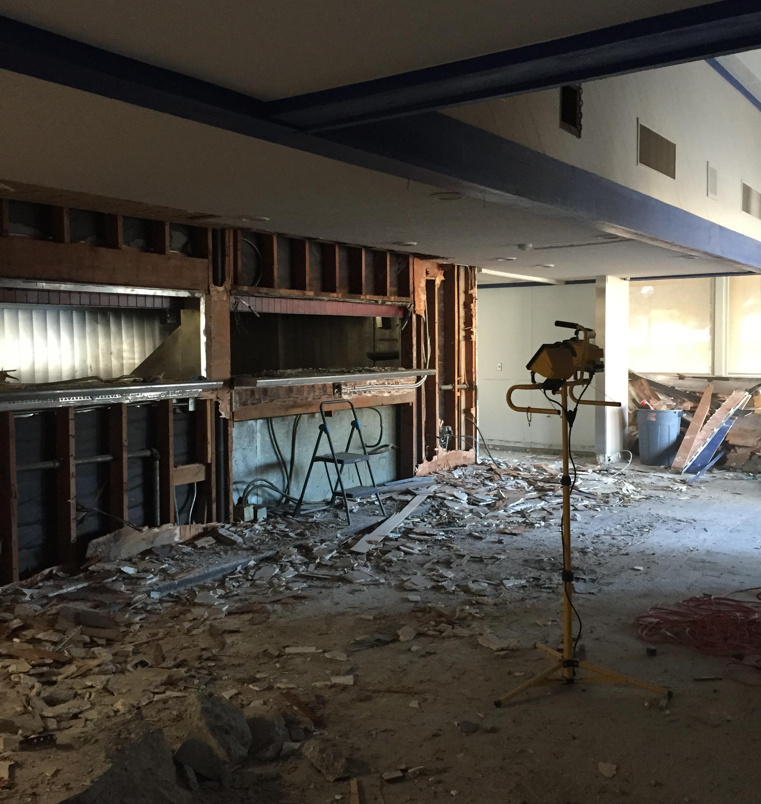 Demolition underway at the new Beacon Coffee location.