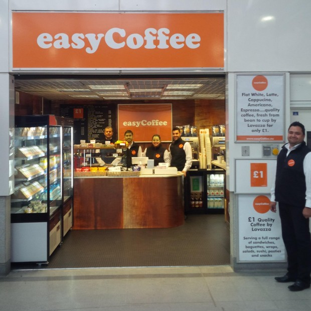 The first EasyCoffee location at the Earls Court tube station.