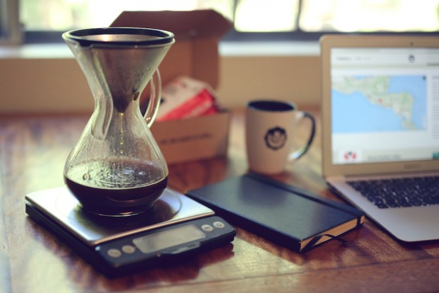 CremaCo - Chemex brewing beside computer - angle