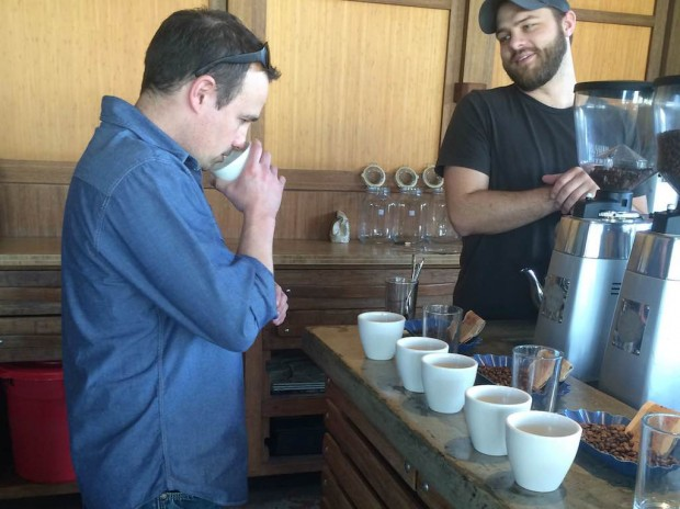 Mike Miller cupping at Coava Coffee in Portland.
