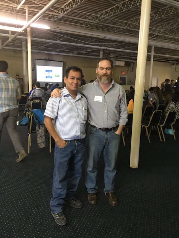 A Cooperative Coffees producer member with CC GM Ed Canty.