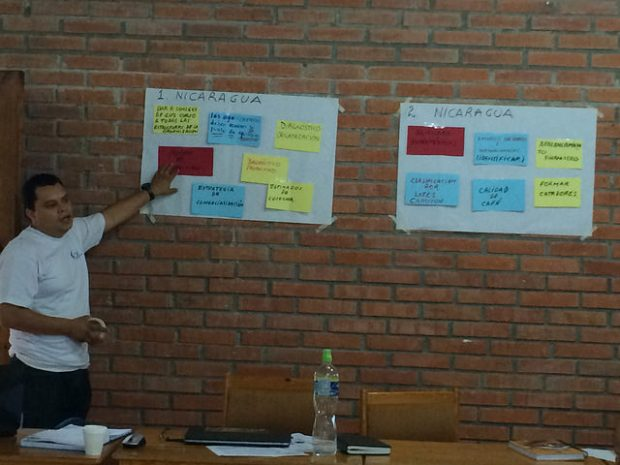 Jimmy Chavarria of CRS Nicaragua walks through priorities for participating Nicaraguan cooperatives. Photo by CRS.