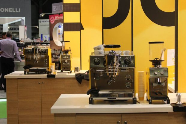 The Mina and Max side by side at the Dalla Corte booth at SCAE World of Coffee in Dublin. Dalla Corte photo.