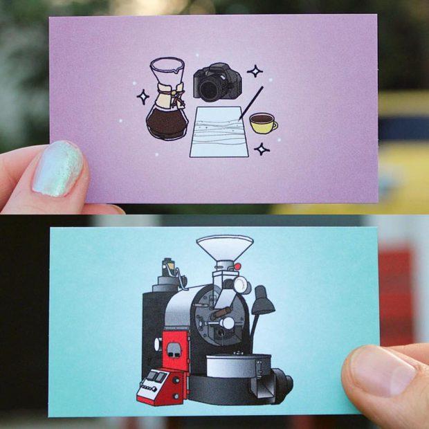 Amateur Coffee business cards. Amateur Coffee Facebook photo.