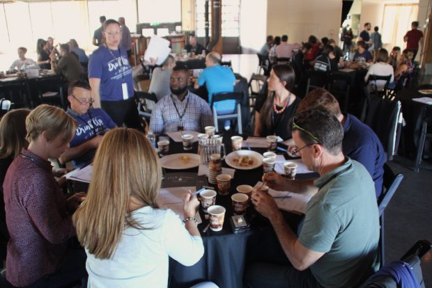 One of the many judging tables. Daily Coffee News photo.