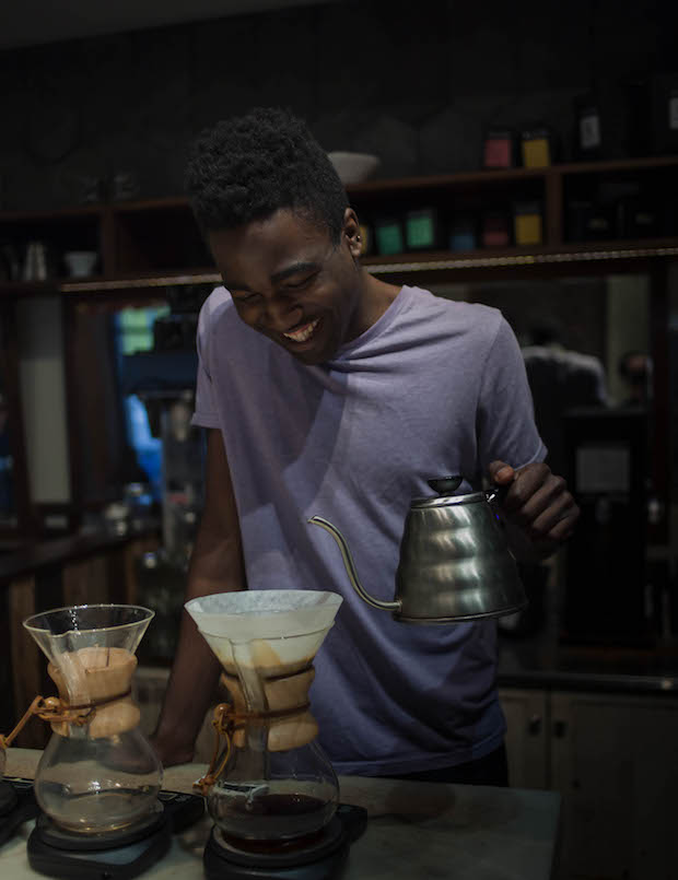 Donovan Andrews at Elixr Coffee in Philadelphia. Photo: Josh Littlefield