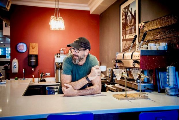 Jim Petrozzini at Jimmy Beans in Chicago's Logan Square neighborhood. Photo by Karen Rettig.